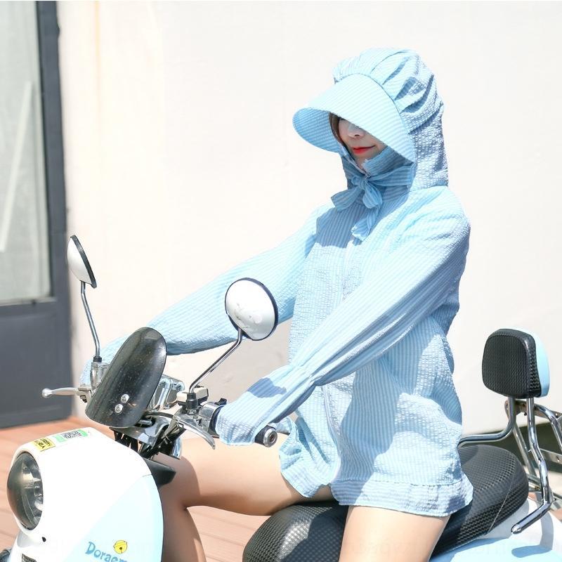 Ks19M 5SVyn casaco para as mulheres verão novo UV protetor solar estilo de comprimento médio protecção fina coreano Ciclismo bicicleta roupa listrada filtro solar