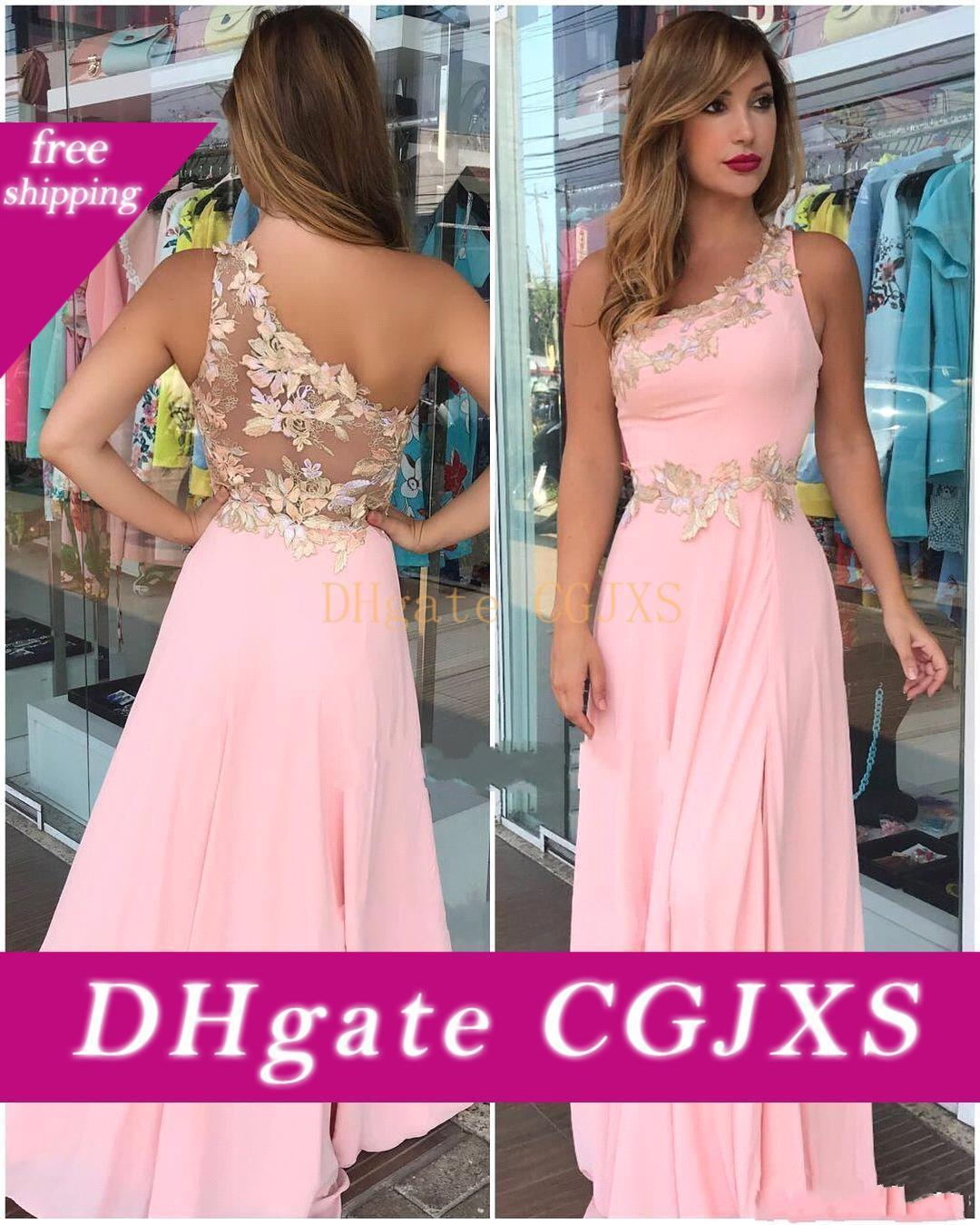 2019 Pink Flower Bridesmaid Dresses A Line Cheap One Shoulder Plus Size Formal Maid Of Honor Gowns For African Black Girls