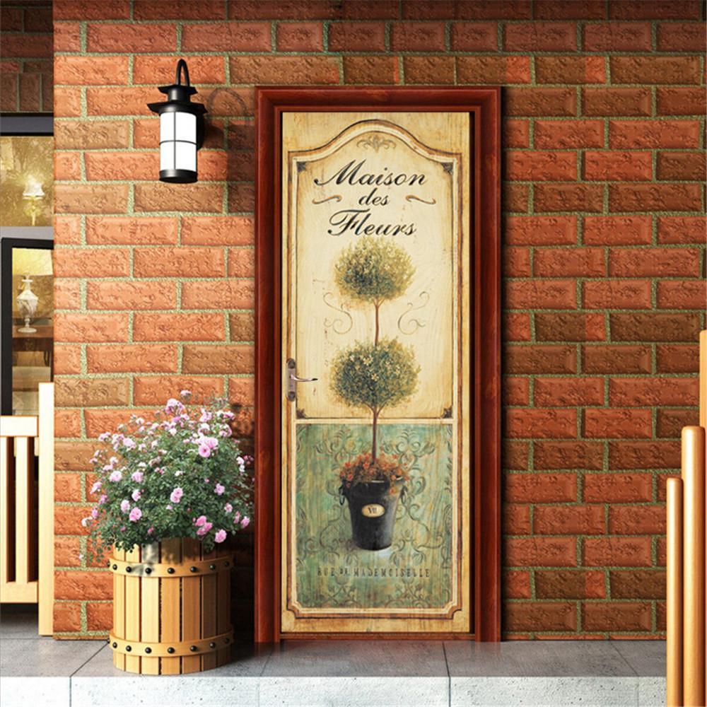 2020 77 * 200 3D etiqueta puerta planta verde autoadhesiva fondo de pantalla a prueba de agua desmontable de bricolaje mural de la decoración del hogar del cartel