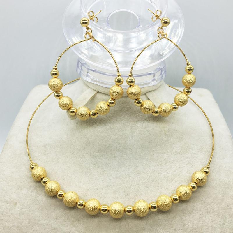 L'ensemble de bijoux de Dubaï mode collection collier boucles d'oreilles en or Nigeria mariage collection de bijoux de perles africaine femmes italiennes