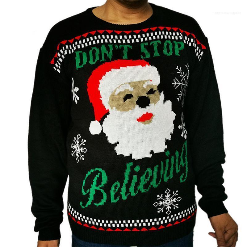 Causal Masculino pulôver Roupa Camisola feia do Natal Homens Winter manga comprida O Neck colorido Designer Sweater