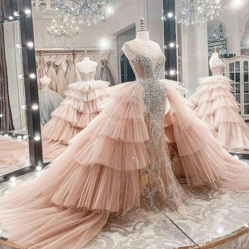 2021 Blush Pink Overskirt Wedding Dresses Lace Illusion Corset Back Custom Made Pleats Ruched Tiered Wedding Gown vestido de novia