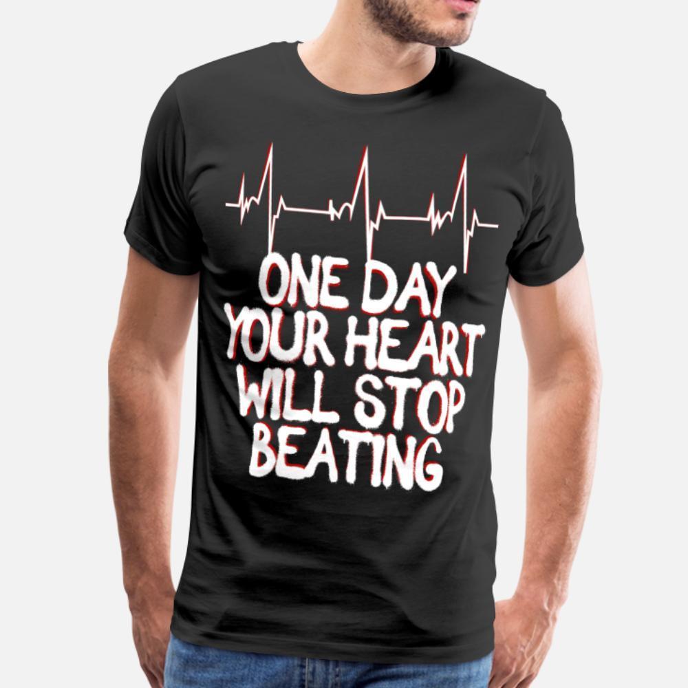 Tuo cuore si ferma maglietta Battere uomini Designs tee shirt Euro Size S-3XL allentato unico estivo Foto Nuovo stile camicia