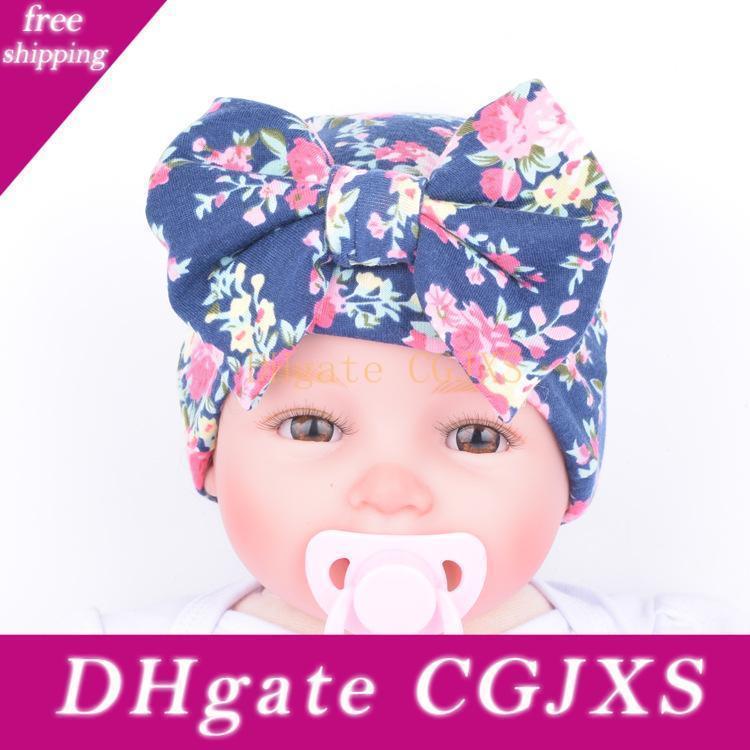 Europeu Chapéu recém-nascido Boutique Acessórios Baby Girl malha de algodão Bow Chapéus Small Cap Florals Maternidade Outono Inverno 0 -3months