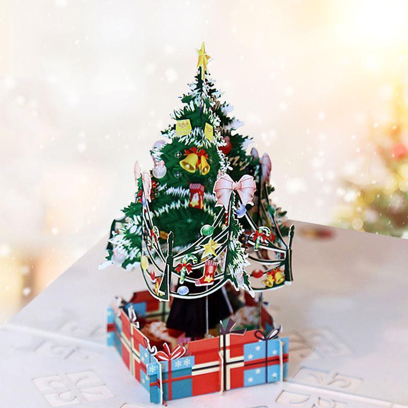 Decorações do Natal 3D Árvore colorida Cartão de corte a laser Envelope Cartão Postal oco esculpida presente Handmade