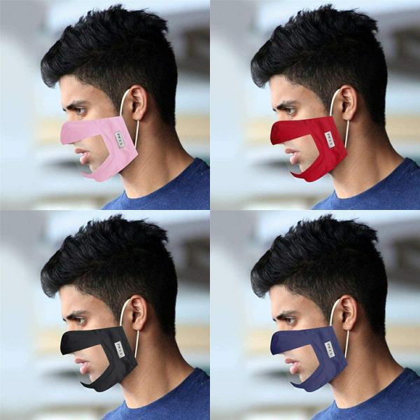De la boca de la máscara visible PVC duro adultos lavable Ventana audición visible de PVC Elasticidad de polvo Claro gente sorda cara cubierta reutilizable FY9152