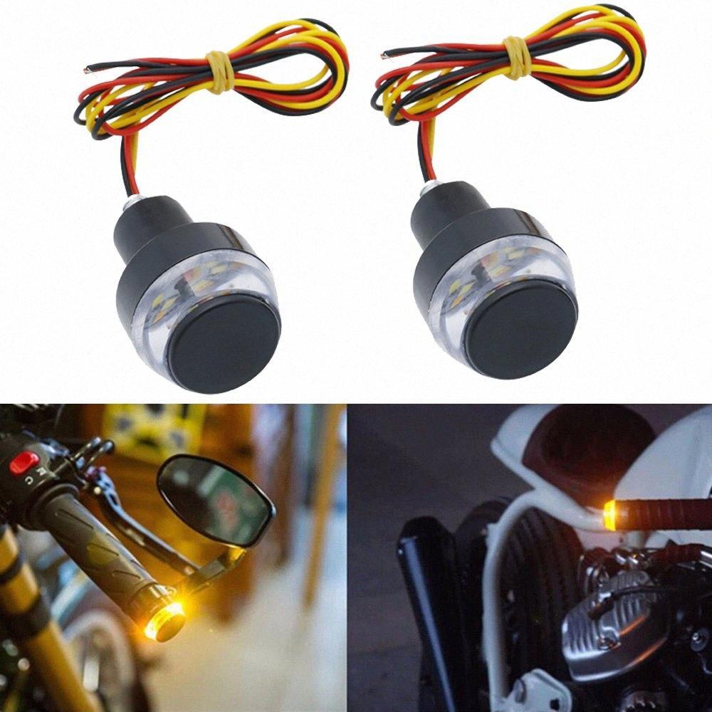 2 PCS мотоцикла Amber LED Ручка Bar End Индикатор Ручка Разъем сигнала поворота для 22мм рулевой End Turn Signal Lamp DZTG #