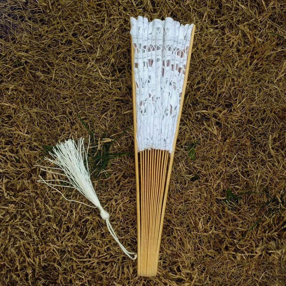 Кружева дизайн Свадебный Изысканный украшения ручной работы из бамбука Bone ручной вентилятор Складной