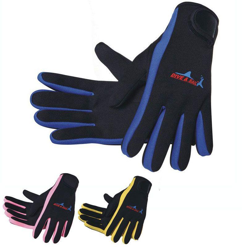 10 coppie Snorkeling Guanti 1.5mm neoprene Sport Guanti 3 colori blu giallo rosa + nero Immersioni Snorkeling sci Canottaggio vela
