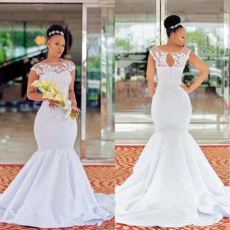 Más el tamaño de africanos negros niñas vestidos de novia de sirena barco cuello mangas cap abierta delantera del vestido de novia de la boda Vestidos de novia