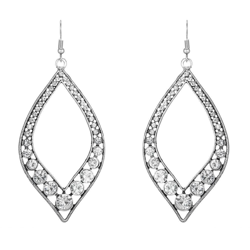 2020 горячей продажа моды изысканной благородные ретро кристалл бирюзовых большие серьги геометрические преувеличенный темперамент крючкообразные длинные серьги