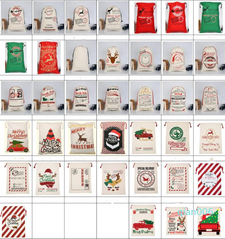 Weihnachtsgeschenk-Taschen Santa Sack Tragetasche Sankt Sack Monogrammweihnachtsmann Deer Tasche Weihnachtsdekorationen 39 Styles DHD713