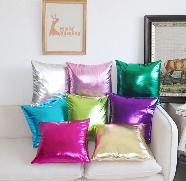 Наволочка ретро имитируют PU подушки наволочки Яркий Сплошной цвет Подушка Обложка автомобилей Диван-кровать Подушка Обложка Home Decor 8 цветов CLS379