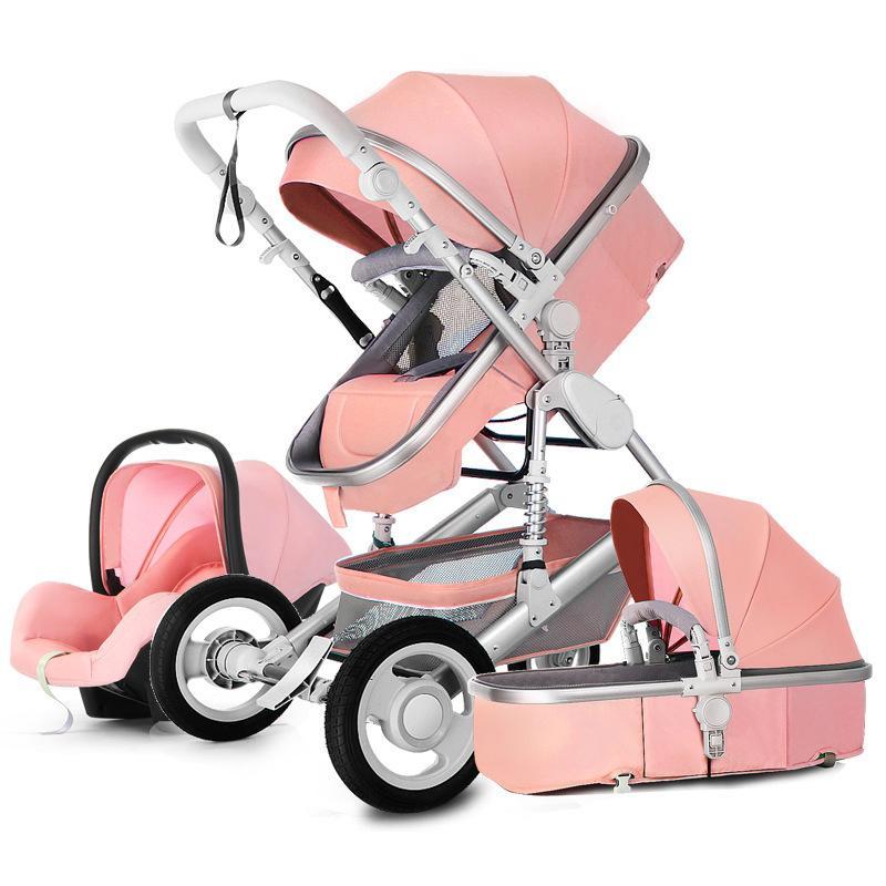 Carrinhos de carrinho de bebê de paisagem alta 3 em 1 luxo com assento de carro transportador reversível e