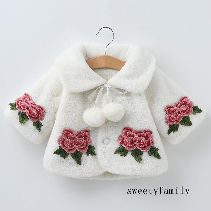 الوردي الأبيض فتاة كيد معطف بسيط زهرة تزيين لمبة ملزمة ضمادة معطف طفلة في فصل الشتاء سترة الرأس عباءة المعطف