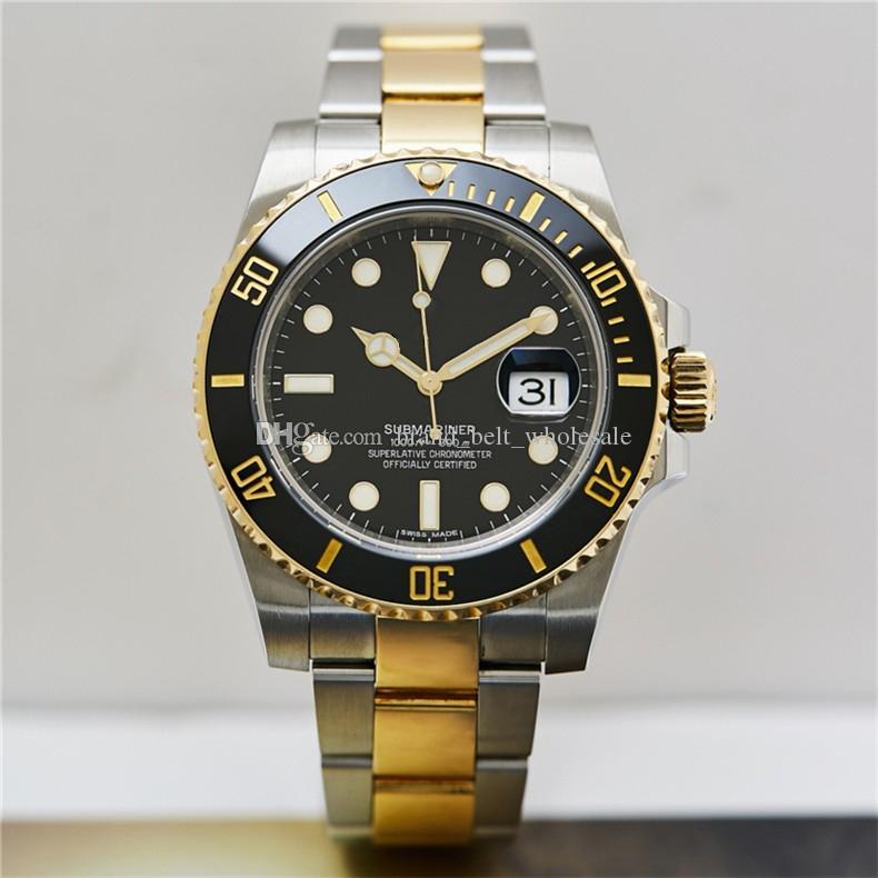 Высококачественные азиатские часы 2813 Спорт Автоматические механические мужские часы 18K Золотой ремешок из нержавеющей стали 116613 Ceramic Bezel 40 мм черный циферблат
