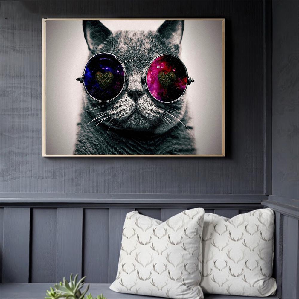 Pop Poster pinturas de arte creativas Animales óleo de la lona Galaxy vidrios del gato and Prints Pared Cuadros para dormitorio la decoración del hogar