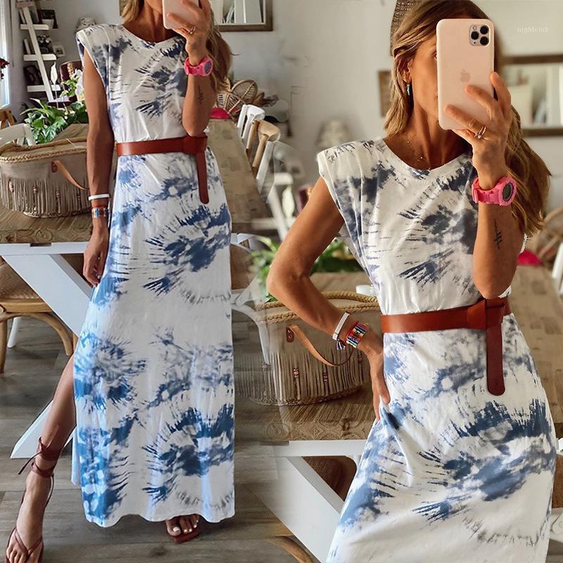 Kleidung Sommer-Frauen Designer Enges Kleid Abbindebatik Split Kurzarmshirt mit runden Halsausschnitt Kleid Beiläufiges weiblicher