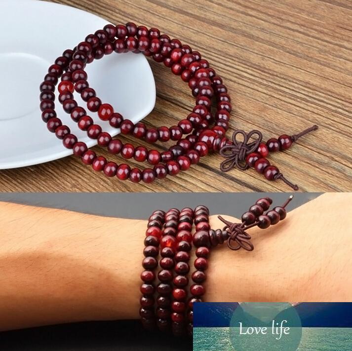 Sándalo perlas pulseras originales Naturales trabajo hecho a mano de madera roja de múltiples capas para mujeres y hombres 6mm 108pcs Buda pulseras brazalete mejor regalo