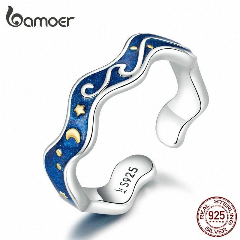 bamoer Sterling Silber 925 Liebhaber Ringe für Paar Blau Sternenhimmel von Gogh öffnen Finger-Ring-Design Schmuck-Accessoires SCR608 IWO9 #