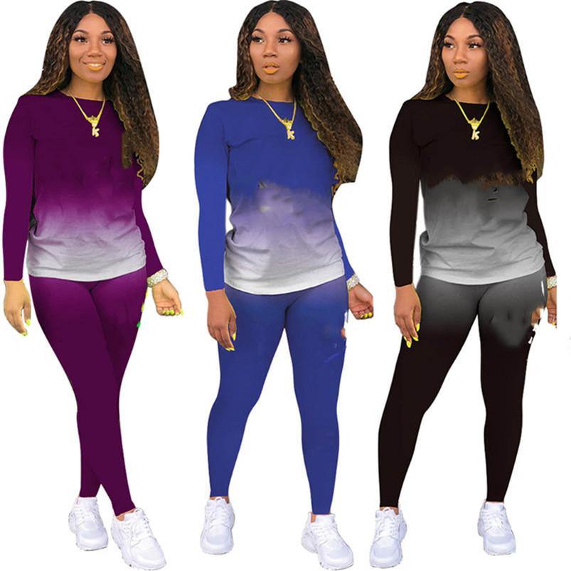 donne tuta lunga con cappuccio manica rifornisce insieme delle 2 parti sportsuit pullover + legging dei vestiti delle donne jogger sportive lettera tuta adatta klw4784