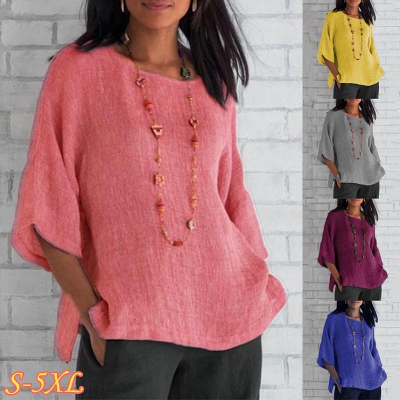 5XL más el tamaño de las tapas del verano mujeres de algodón de lino de la blusa floja ocasional 2020 Colores sólidos camisa de la manera Tamaño grande de las señoras Top Streetwear