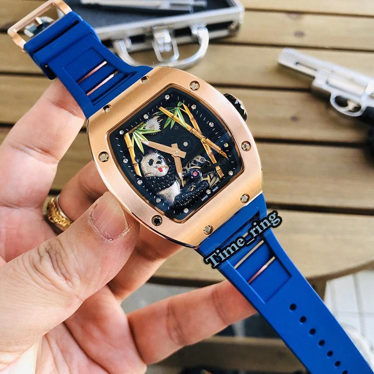 Melhor Edição RM 26-01 Panda esqueleto dial Rose Gold aço capa Japão Miyota movimento automático RM26-01 Mens Watch borracha azul Correia Relógios