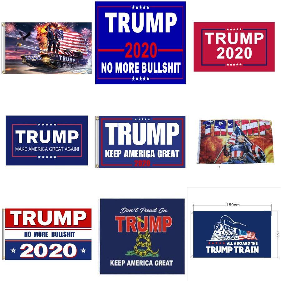50pcs Çift Banner Flags Taraflı Trump 2020 Bahçe Bayraklar 30 x 50 cm Açık Süsleme Amerikan Bahçe Bayrağı # 826