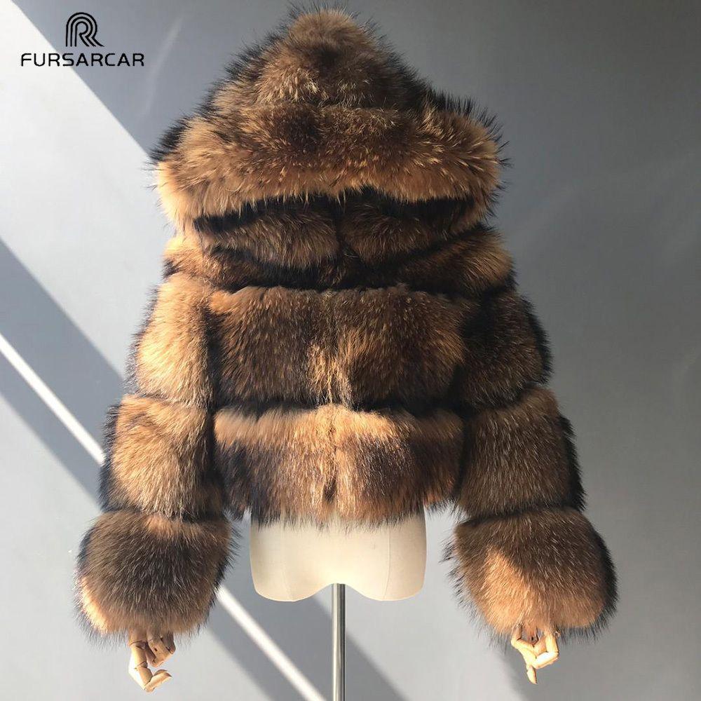 TOPFUR Luxury Real Frauen Silber Gold Fox-Pelz-Mäntel mit Pelz Hood Jacke Mode weiblicher Winter dicker warmen echten Pelz-Oberbekleidung T200905