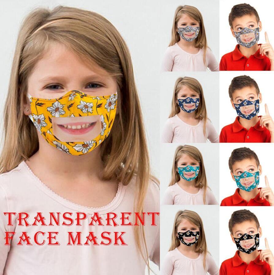 Lip Idioma Respirador Crianças Impresso PET Limpar Mouth capa lavável Visible máscara Cotton Protective Casa e Jardim DHE188
