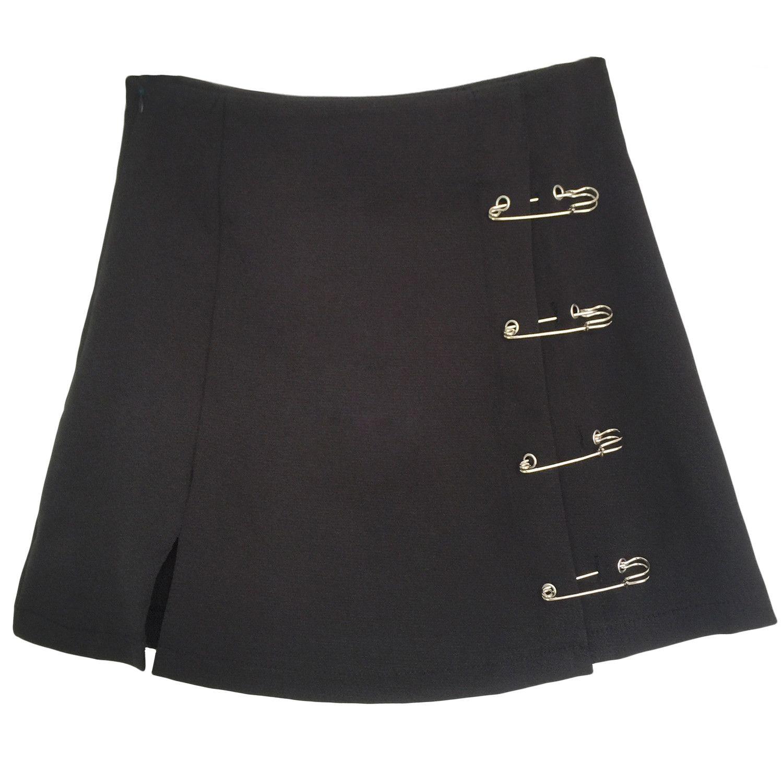 Flectit Punk Rock Стиль безопасности Pin A-Line мини-юбки с боковым Сплит высокой талией Коллинз Юбка Женщины Harajuku Street Wear LJ200819