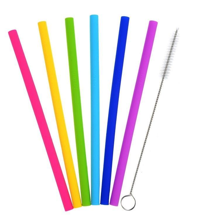 Düz Bent Payet İçin Bar Tumblers Kavanozlar Kupası Yemek Payet Uzun Esnek Payet ile Temizleme Fırçalar İçme Yeniden kullanılabilir Silikon