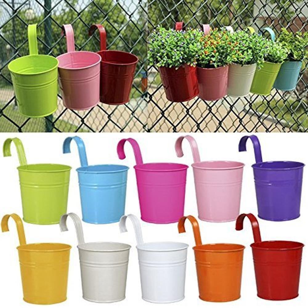 10 X Garden Metal Flower Pots Wall Hanging Bucket Herb Planter For Balcony Plants Pots Hanging Iron Flower Containers Y200723