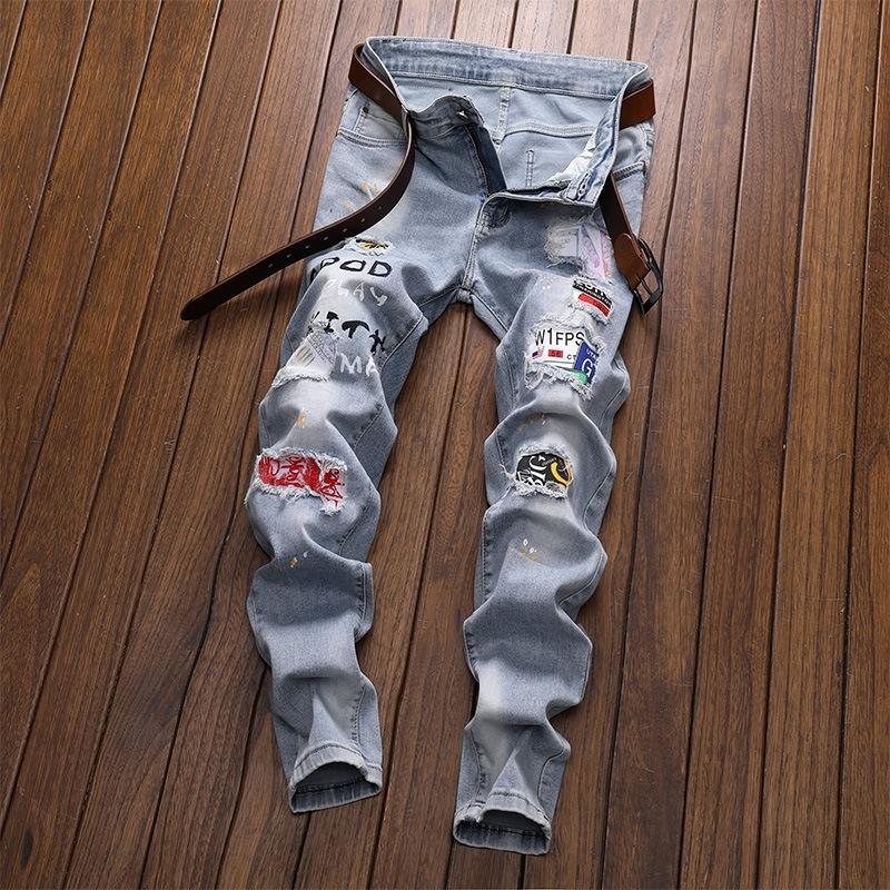 RNFHs yDpCY 2020 nouvelle de petite jeans mode jeunesse et brodé patchs jeans hommes droites hommes brodé