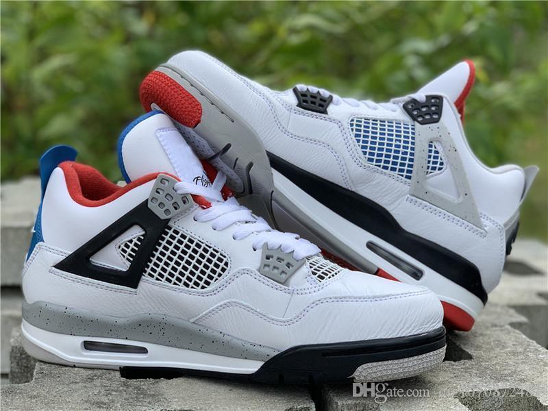 Üst Kalite Hava 4 Ne OG LOGO Basketbol Ayakkabı Beyaz Çimento Ateş Kırmızı Askeri Mavi Karışım Man Retro Spor Sneakers CI1184-146 ile Kutusu