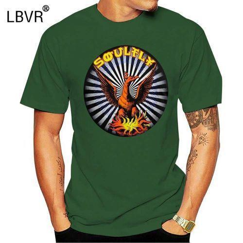 Печатные мужчины футболка с коротким рукавом смешной футболка Soulfly - Phoenix футболка