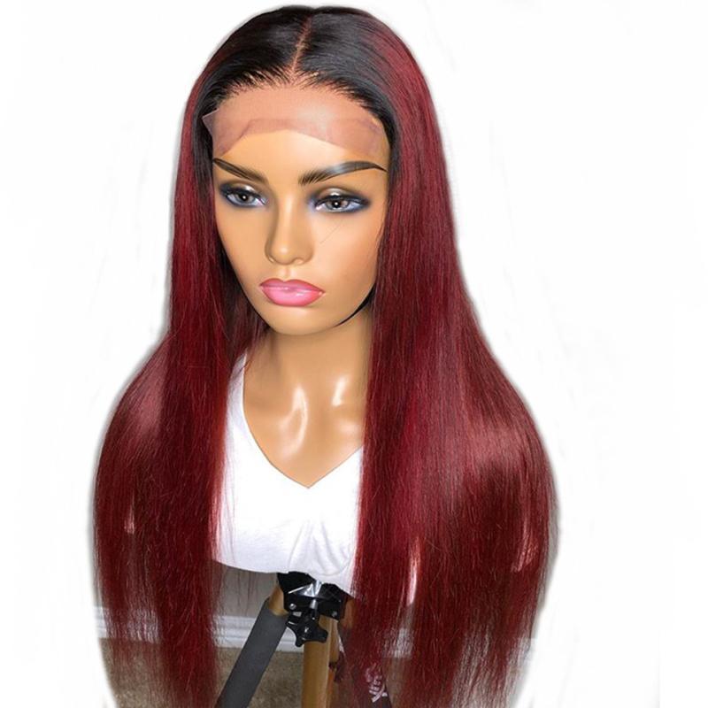 مباشرة 1B عنابي 13x6 الرباط الجبهة الباروكة شعر الإنسان ريمي الشعر البرازيلي 150٪ 99J 5 * 5  الحرير قاعدة الرباط الباروكة