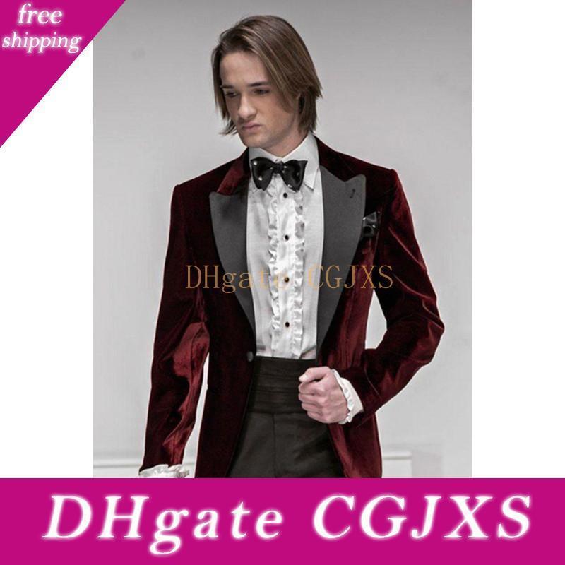 Yeni Klasik Tasarım Koyu Kırmızı Kadife Damat smokin Groomsmen Best Man Suit Erkek Düğün Suit Damat İş Takımları (Ceket Pantolon Kravat) 102