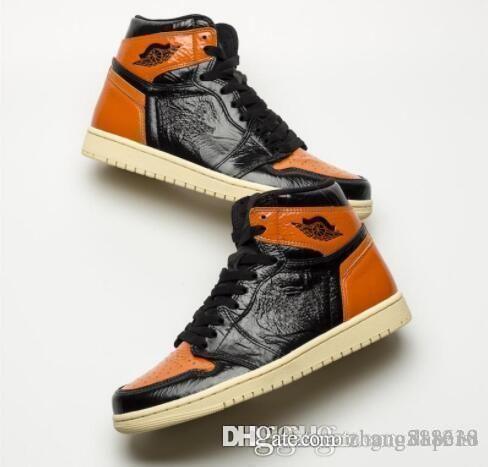 2019 Новый 1 High OG Разрушенные Backboard Черный Оранжевый Черный Toe Мужчины Баскетбол обувь 1S Мода кроссовки Спортивная обувь Кроссовки