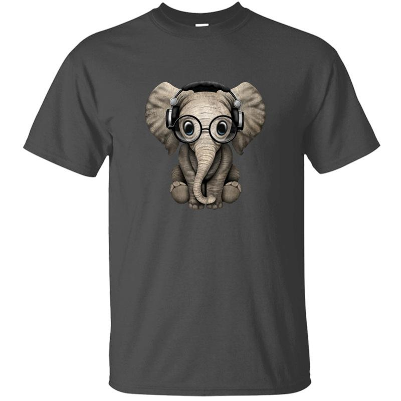 Cute Baby Elephant Dj Wearing Headphones And Glass T Shirt Man Cotton White Boy Girl T-Shirts 2019 Top Tee