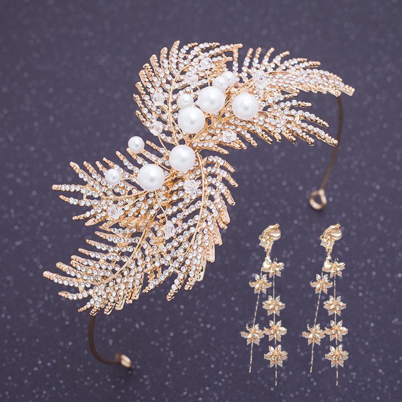 Ювелирные изделия Le Liin Люкс Кристалл Золото цветов волос оголовье серьги невесты волос невесты Свадебные аксессуары