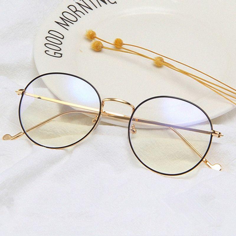 Klasik Yuvarlak Çerçeve Gözlükler Marka Metal Bilgisayar Optik Gözlük Kadınlar Bayanlar Gözlükler Çerçeve Erkekler Temizle Göz keWg #