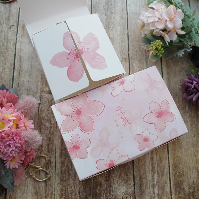 2 Размер Pink Cherry Blossom Flower 10шт Macaron шоколад бумаги Box Свадебный День Рождения Подарки Упаковка
