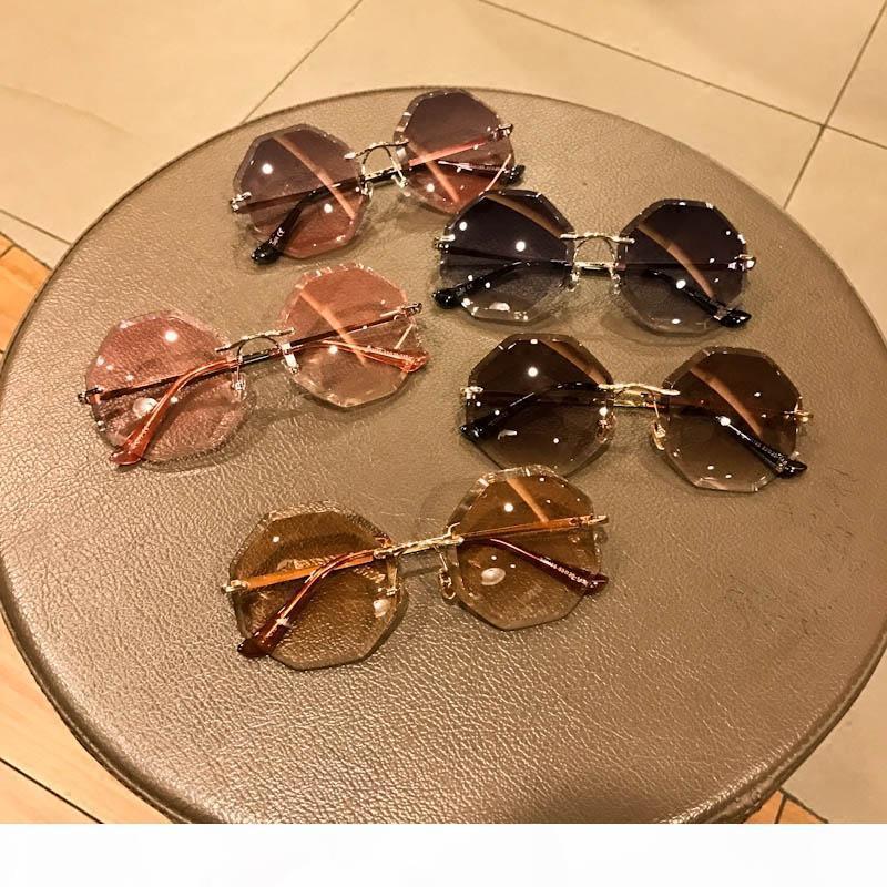 Marco súper chic las gafas de moda sin marco óptico del espectáculo de las mujeres de los vidrios Gradiente Color de la lente del color del caramelo UV Protección Gafas Fe