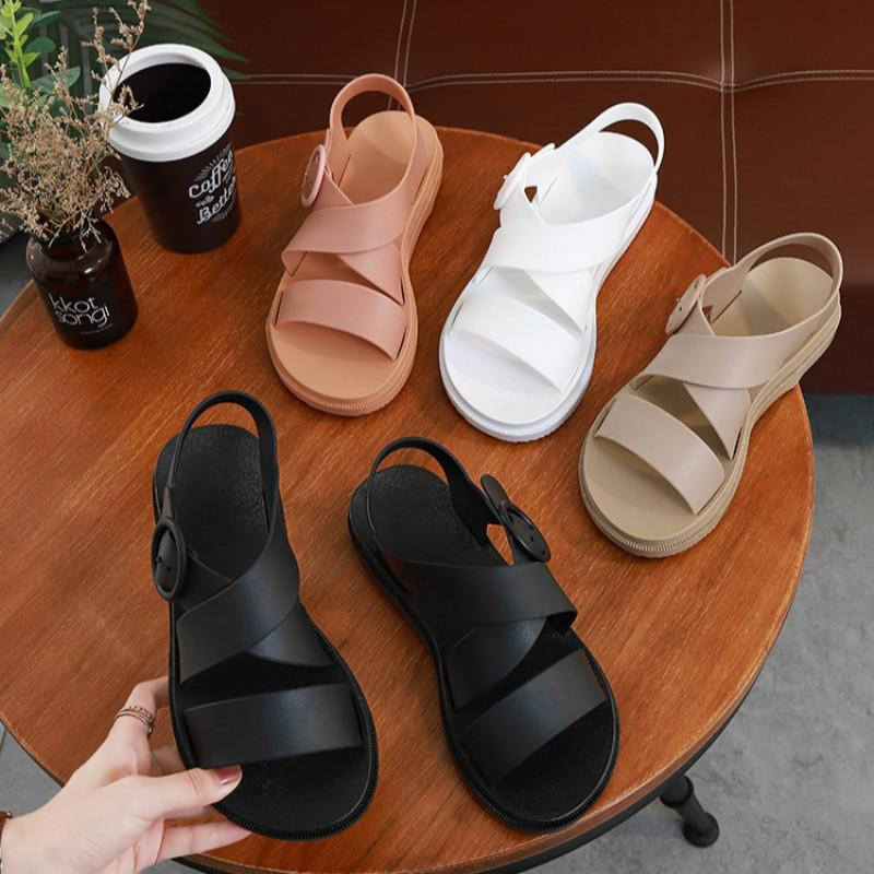 SWONCO PVC zapatos de las sandalias verano de las mujeres del casaul de los zapatos 2020 nuevos zapatos de plástico Plataforma de Roma sandalias para las mujeres blancas jalea sandalias Y200620