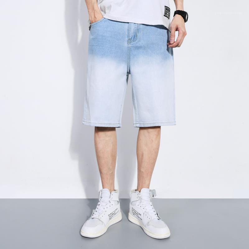 Cep Mens Tasarımcısı Gradient Renk Jeans Knee ile Uzunluğu Sokak Kot Pantolon Düz Orta Bel Fermuar Fly Pantolon