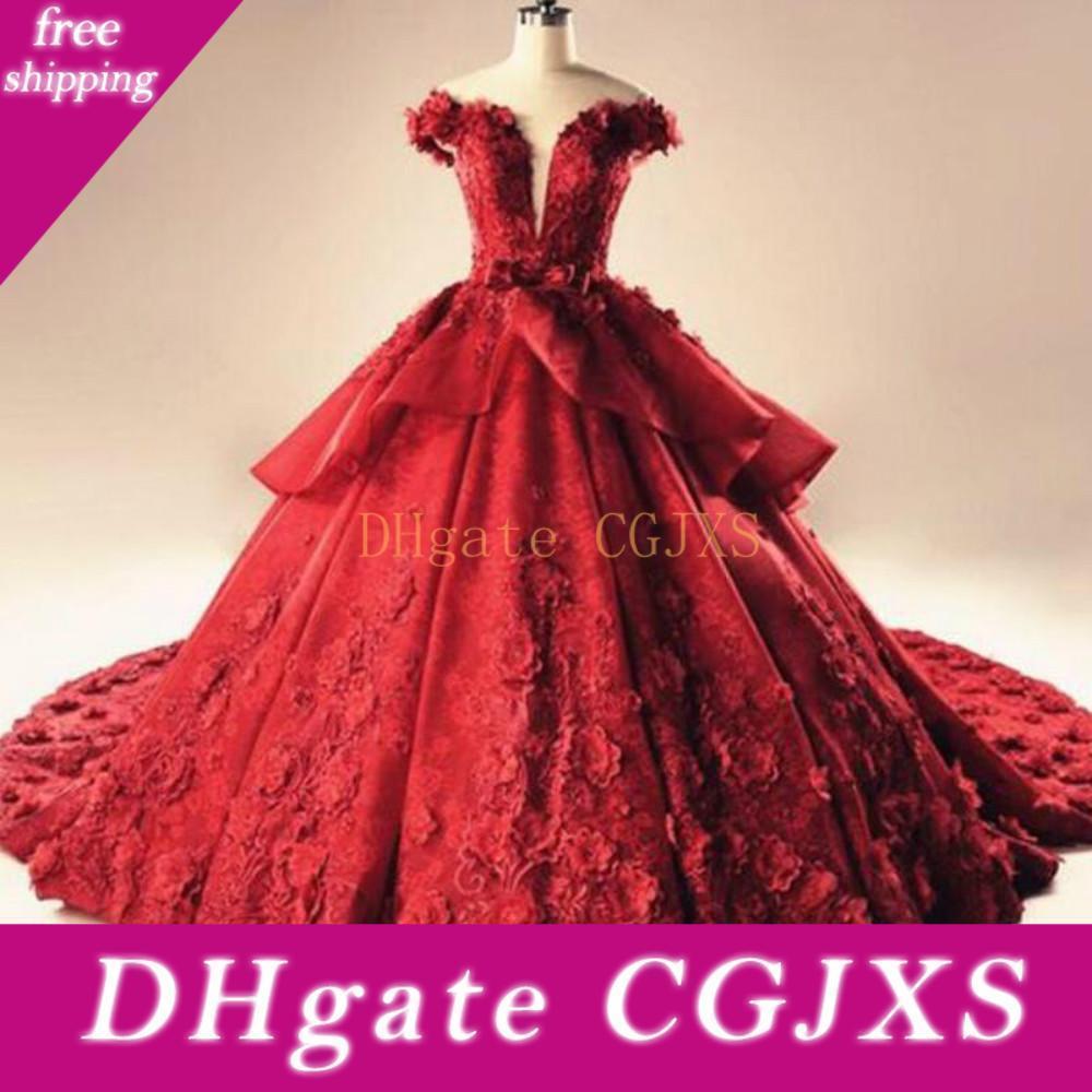 Glamorous Red Lace Plus Size Luxo Prom Dresses Flor Floral Arábia Saudita Dubai Vestido de noiva de noiva vestido de baile Vestidos
