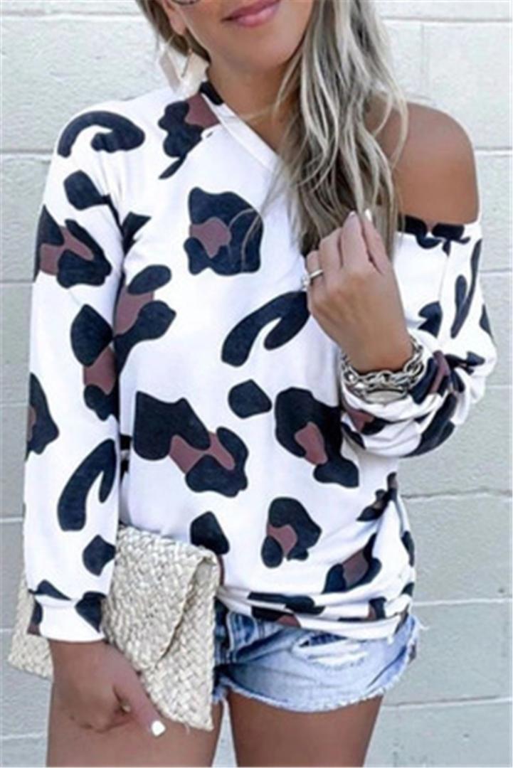 Casual Straplez Tee Tasarımcı Kadın Yuvarlak Yaka Üst Tişört Giyim Bayan Leopar Uzun Kollu T-shirt Yaz Moda Mizaç İnce