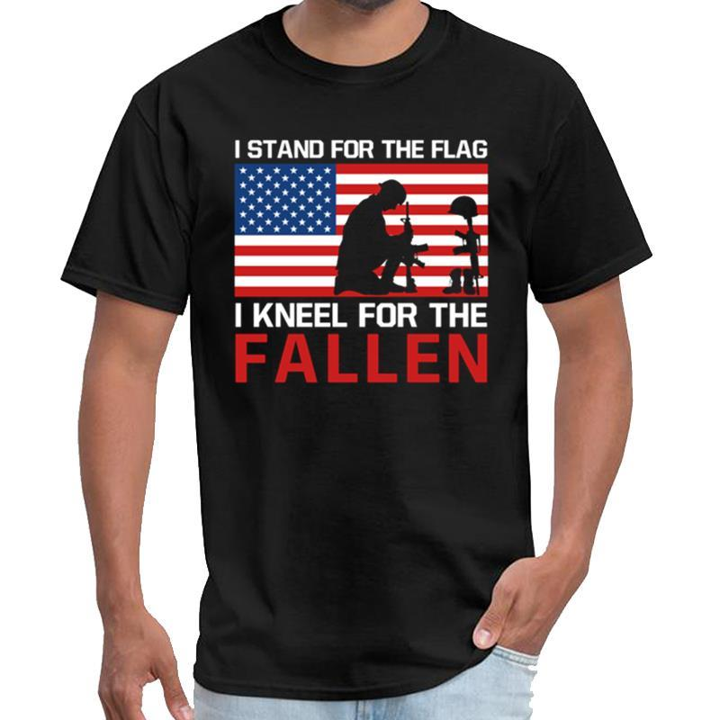 Printed I Stand for the Flag I Kneel for the Fallen ussr t shirt men's rhude t shirt plus sizes s-5xl tee tops