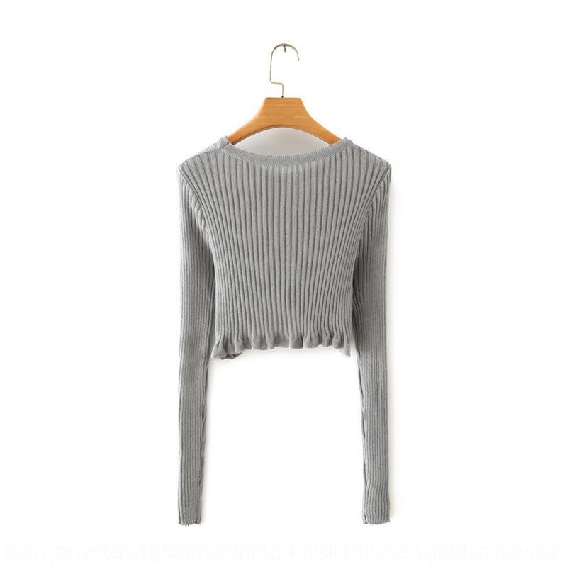 n3InR WZiEv Q3283-корейской одежды женщин Круглый 2020 Весна и осень длинный короткий свитер шеи трепал Новый рукав свитера для женщин